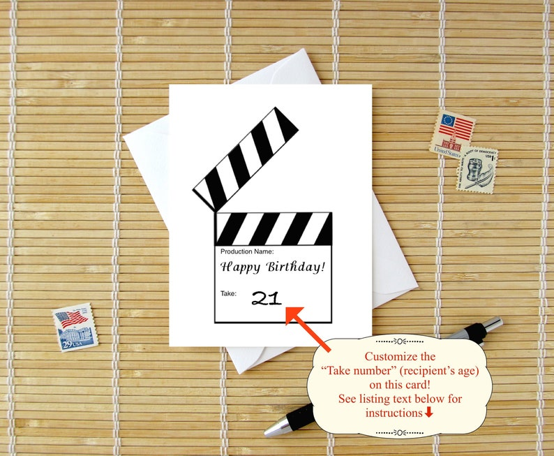 Clapperboard Birthday Card For Filmmaker Actor Director Or Movie Fan Him Her CUSTOM Age Number