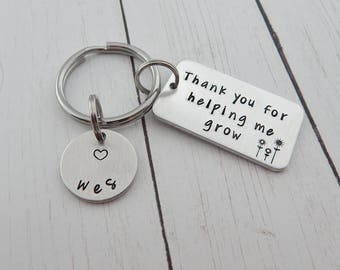 Babysitter gift etsy teacher gift thank you for helping me grow stamped teacher keychain back to school teacher appreciation mentor gift babysitter negle Image collections
