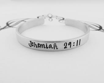 Jeremiah 29:11 - Hand Stamped Bracelet - Scripture - Bible Verse - Christian Jewelry - For know the plans I have for you - Religious
