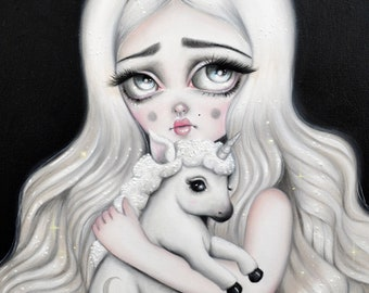 Unicorn Print, Magical & Lovely 'The Moon Unicorn' - LIMITED EDITION signed numbered Pop Surrealism Lowbrow Art Print By Autumn