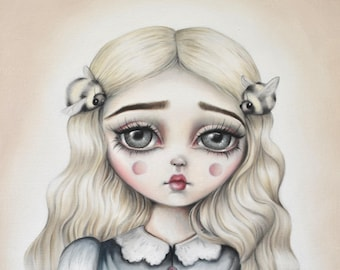 Bumble Bee Pop Surrealism Illustration 'Bee Mine' - LIMITED EDITION signed numbered print lowbrow art, bee art, big eyes