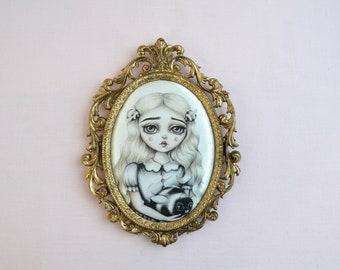 Bee Mine - miniture framed vintage silk print, vintage art, big eye art, bumble bee