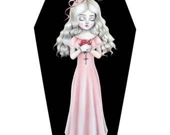 Halloween, Nicole Dollanganger, coffin 'Never Grow Old - LARGE LIMITED EDITION signed numbered Pop Surrealism Lowbrow Art Print By Autumn
