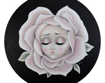 Alice in wonderland Sleepy - LIMITED EDITION signed numbered print lowbrow art, flower face, cute, fairy tale