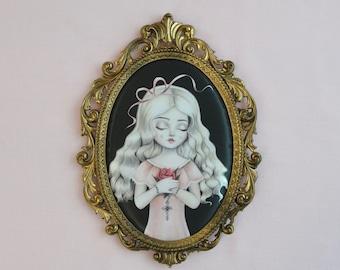 Never Grow Old -  vintage gilt framed art, funeral, dead girl sleeping, nicole dollanganger