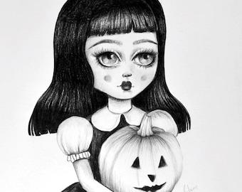 Goth, Halloween pumpkin, jack o lantern , 'Pumpkin' - LIMITED EDITION signed numbered Pop Surrealism Lowbrow Art Print By Autumn