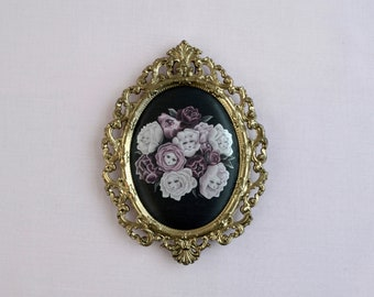 Rosebud Babies - miniture framed vintage silk print, vintage art, alice in wonderland, flower faces