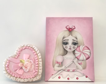 Land of sweets 'Lollipop' - LIMITED EDITION signed numbered Pop Surrealism Illustration print lowbrow art, cotton candy, babycore, big eyes