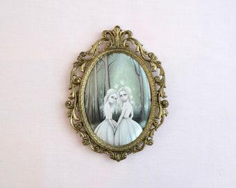 Into The Woods -  Miniature vintage framed silk print, lowbrow art, pop surrealism, fairytale art, ethereal