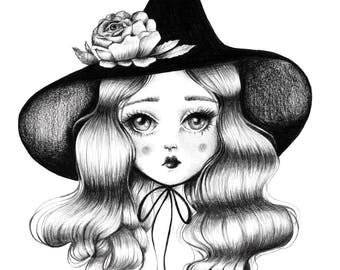 Witch Art, Witchy, Wiccan , Halloween , 'Little Witch' - LIMITED EDITION signed numbered Pop Surrealism Lowbrow Art Print By Autumn