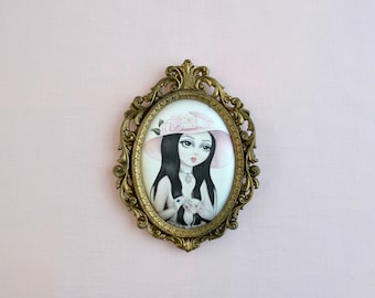 The Love Witch - miniture framed vintage silk print, vintage art, wicca, witch, magical