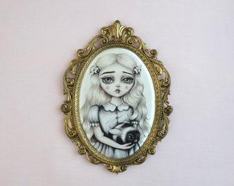 Bee Mine-  Miniature vintage framed silk print, lowbrow art, pop surrealism, big eye art, bumble bee
