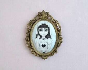 Spider Baby - miniture framed vintage silk print, vintage art, spider art, big eyes, classic horror movie
