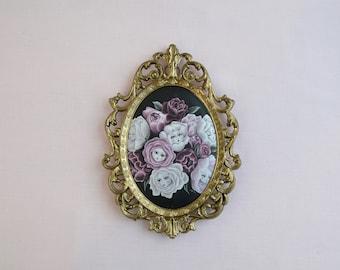 Rosebud Babies -  Miniature vintage framed silk print, lowbrow art, pop surrealism, fairytale art, alice in wonderland