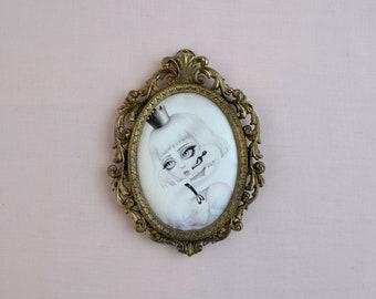 The Swan - miniture framed vintage silk print, vintage art, fairytale, swan art, big eye art