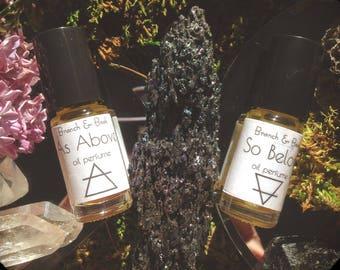 Oil Perfume Air element Earth element Spirit // Essential Oil Perfume // As Above, So Below