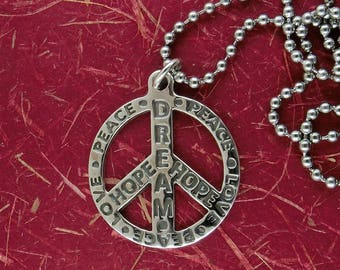 World peace necklace etsy sterling silver hippie peace sign pendant designed for world peace free shipping aloadofball Image collections