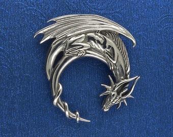 Sterling Silver Dragon Moon Pendant