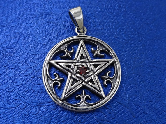 Pentagram In a Circle Pendant Sterling Silver Wiccan Pagan Gift For Her