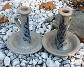 Beautiful Pair Of Vintage Stoneware Salt Glaze Candle Holders Rowe Pottery Works Wisconsin for Ethan Allen 1980 39 s