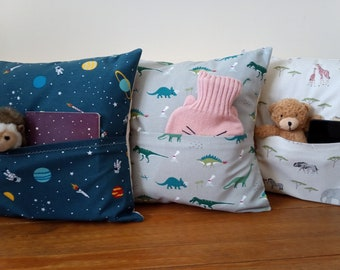 """Children's Pocket/Reading/Sleepover Cushions Handmade In Sophie Allport Fabrics - 16"""" With/Without Inner Pad - Cream Envelope Backs -"""