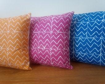 "Cushions/Cushion Covers Handmade in Mojave Fabrics - Waterfall Orangina and Daiquiri - Cream Envelope Backs - 16"" with/without inner pads -"