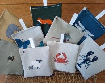 Handmade Lavender bags/pillows/Moth repellents/Car Fresheners/gift/teacher gift - Made in Designer Fabrics - Cream Cotton Backs