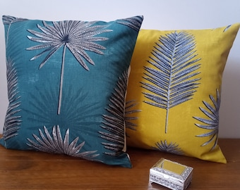 """Cushions/Cushion Covers handmade in Zana Fabrics Sunflower and Forest Prints - Cream envelope backs - 16"""" with/without inner pads -"""