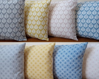 """Cushions/Cushion Covers Handmade in Geometric Jacquard Fabrics - Mix and Match Range - 16"""" Cream Envelope Backs - With/without Insert"""