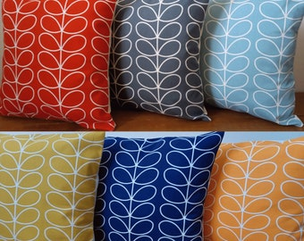 """Designer Cushions/Cushion Covers handmade in Orla Kiely Fabrics - Cream Envelope Backs - 16"""" with/without inner pads - Made in England"""