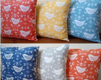 """Cushion Covers made in Scandi Narvik Blue  Orange Grey Yellow Seafoam fabrics - Cream Envelope Back Made in UK 16"""" with or without insert"""