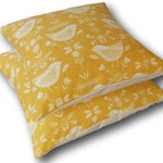 Cushion Covers made with Fryetts Scandinavian Narvik Ochre Yellow Birds Scatter Cushions - Throw Pillows - Slipcovers - Made in England