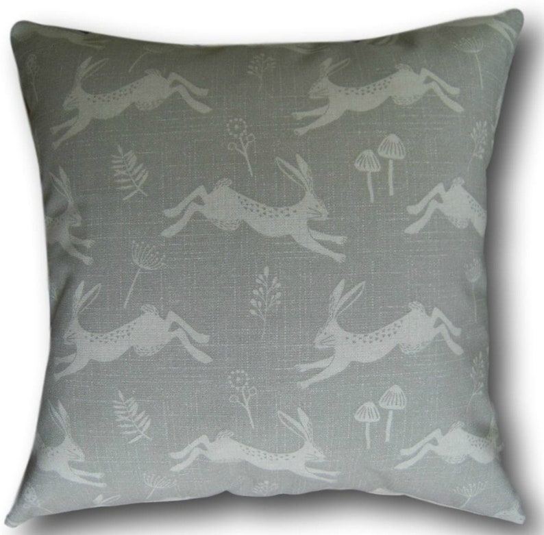 Grey Cushion Covers Jump Leaping Hares Silver Grey Throw image 0