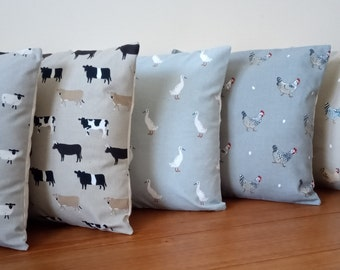 """Farm Life Designer Cushion Covers in Sophie Allport Fabric Chicken Cow Duck and Sheep 16"""" Made Cream envelope back with or without insert"""