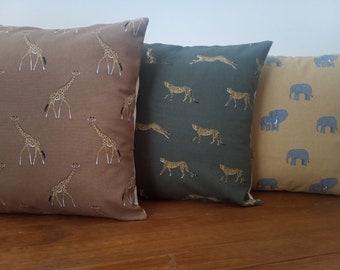 "Designer Cushions Handmade in Sophie Allport Fabrics - African Animal prints - Giraffe Elephant Cheetah - 16"" w/ Cream Envelope Backs -"