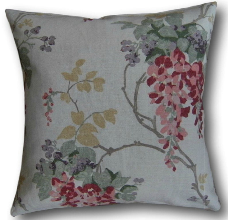 Designer Cushion Covers Wisteria Cranberry Red Floral Laura image 0