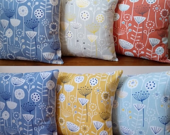 """Cushion Covers made with Fryetts Scandi Duck Egg Blue Orange or Grey Bergen Cream envelope backed Made in England 16"""" With or without insert"""