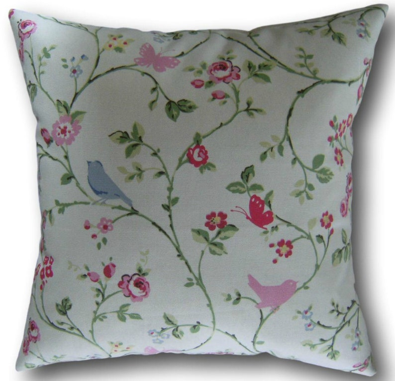 Pink Cushion Covers Bird Trail Clarke and Clarke Ditsy Shabby image 0