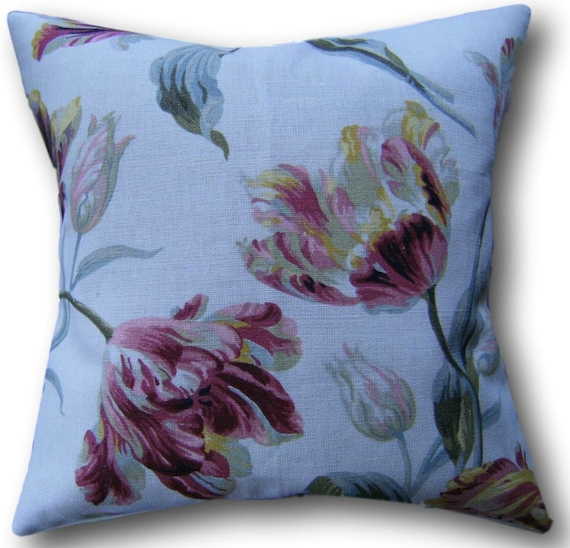 TWO LAURA ASHLEY HANDMADE REVERSIBLE CUSHION COVERS IN GOSFORD CRANBERRY