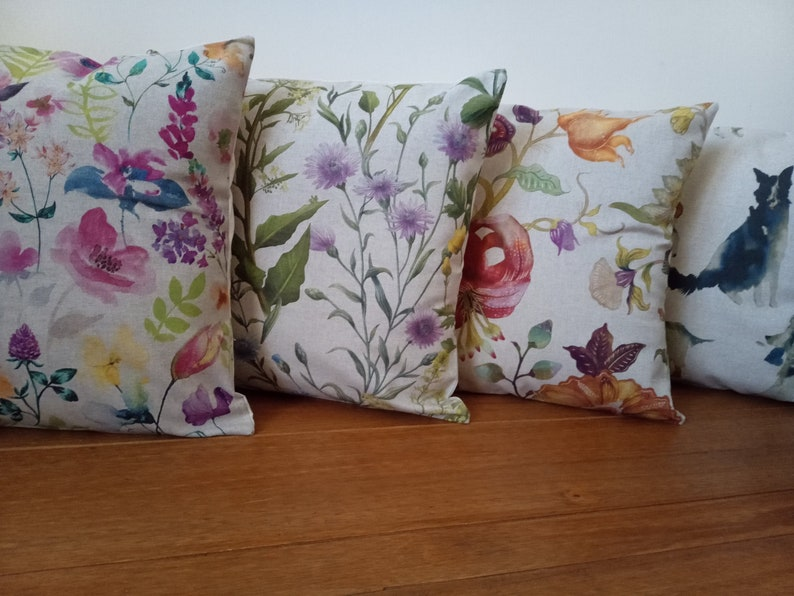 Designer Cushion Covers made in Linen Look Country Garden image 0