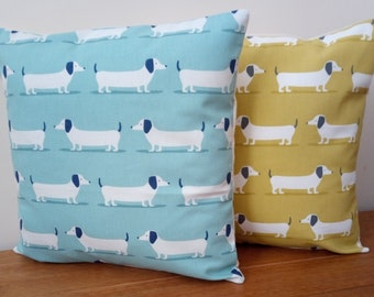 """Cushion Covers Handmade in Dachshund Dog Ochre Yellow or Duck Egg Blue - Cream Envelope Backed - Made in England 16"""" with or without insert"""