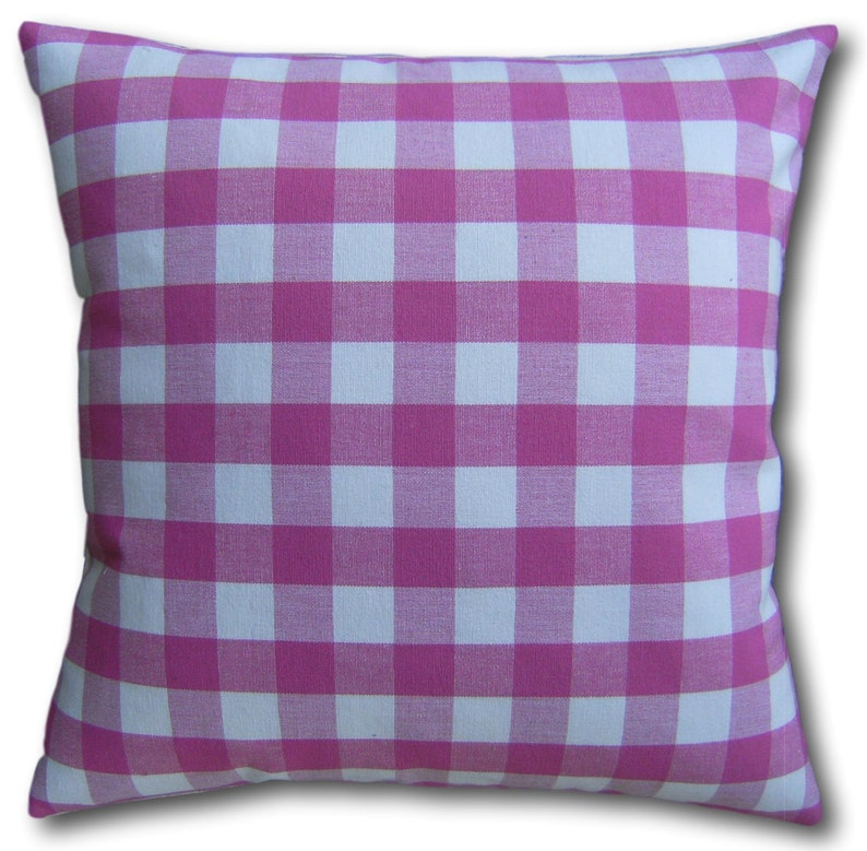 Pink Gingham Cushion Covers handmade in top quality fabric   image 0