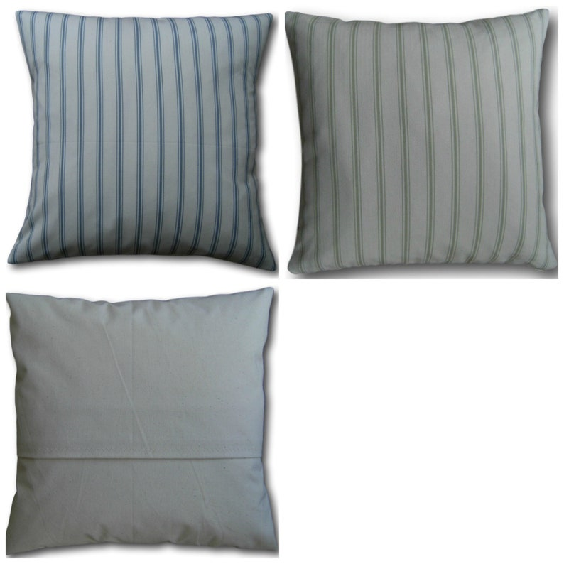 Designer Cushion Covers Farnworth Chambray Blue or Hedgerow image 0