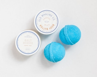 Spa set || Coastal Calm Gift Set || TWO bath bombs + ONE salt scrub + ONE body butter gift set / handmade / pamper / coastal