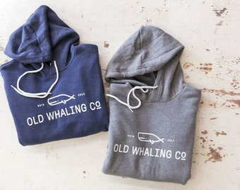 Old Whaling Co Unisex Hoodie Sweatshirt  / vintage / tri-blend / super soft / blue or gray /