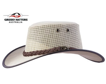 d57d1f70400 OUTBACK GENUINE Cowhide LEATHER Squashy Bush Hat with Mesh Ventilation -  Australian Outback Hat in Light Beige - Golf Hat - Gift for Him