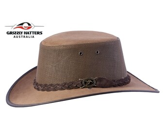 ad00a437081 OUTBACK GENUINE Cowhide LEATHER Squashy Bush Hat with Mesh Ventilation -  Australian Outback Hat in Dark Tan Colour - Golf Hat - Gift for Him