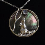 Moon Gazing Hare Pendant in Fine Silver and featuring a Rainbow Moonstone