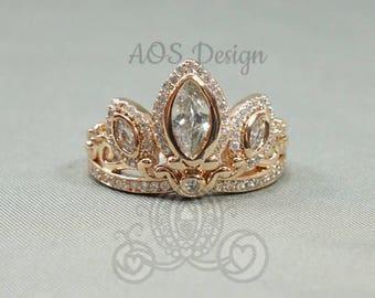 Rapunzel Rose Gold Tiara Princess Ring Tangled Crown Crystals Rose Gold 925 Silver or Brass