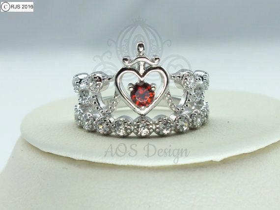 Princess Snow White Crown Red Garnet Ring Sword Heart Ring image 0